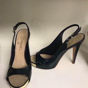 CHANEL Shoes - Chanel dark navy blue slingback heels